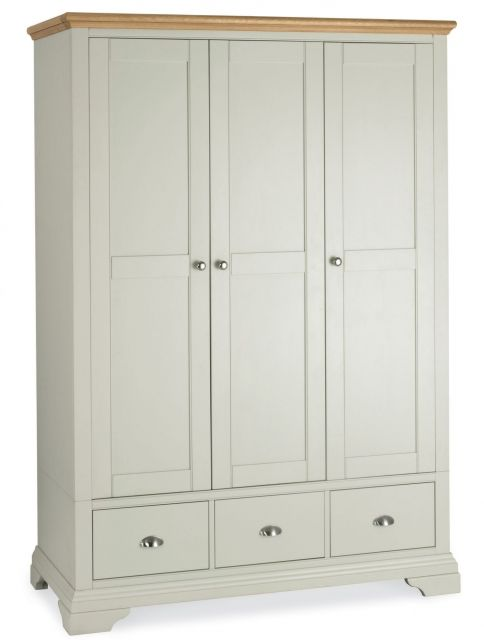 Fairford Soft Grey & Pale Oak Triple Wardrobe
