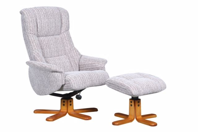 Swivel Recliner Chair & Footstool Fabric Wheat