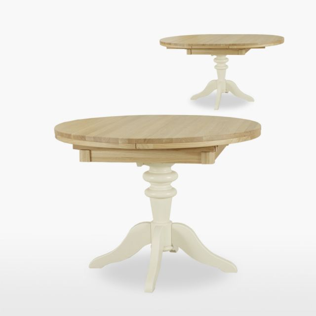 Coelo - Round extending single pedestal table & 1 leaf