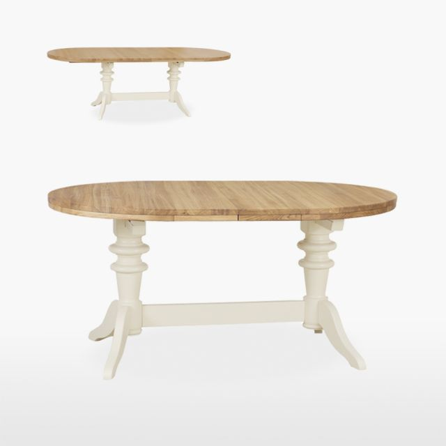 Coelo - Round Extending Double Pedestal Table & 2 Leaves
