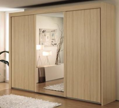 280cm Sliding Wardrobe with 197cm High Wood Effect and Mirror Door