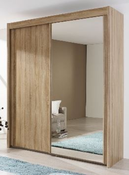 201cm Sliding Wardrobe with 197cm High Wood Effect and Mirror Door