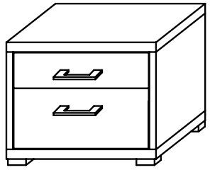 Lynx 2 Drawer Bedside Chest Plain Finish Aluminium Handles