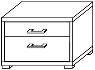 Lynx 2 Drawer Bedside Chest 58cm Chrome Handle Plain Finish