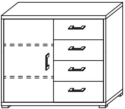 Lynx 1 Door & 4 Drawer Low Cupboard Chrome Handle Plain Finish