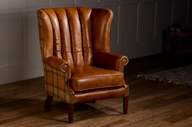 Flutted Wing Chair Standard Leather