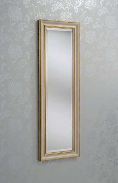 "201 Ivory/Gold 35"" X 25"" Bevel (89Cm X 64cm) Mirror"