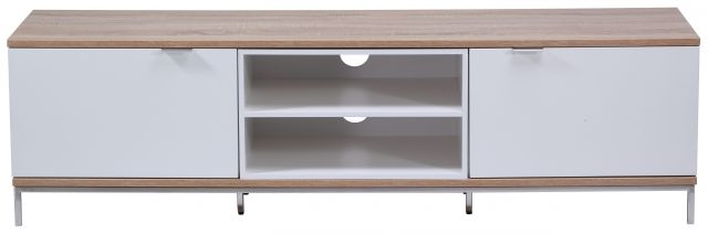 Chaplin Cabinet 1600 White and Light Oak