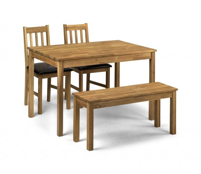 Coxmoor Dining Rectangular Table 2 Chairs & Bench Solid American White Oak