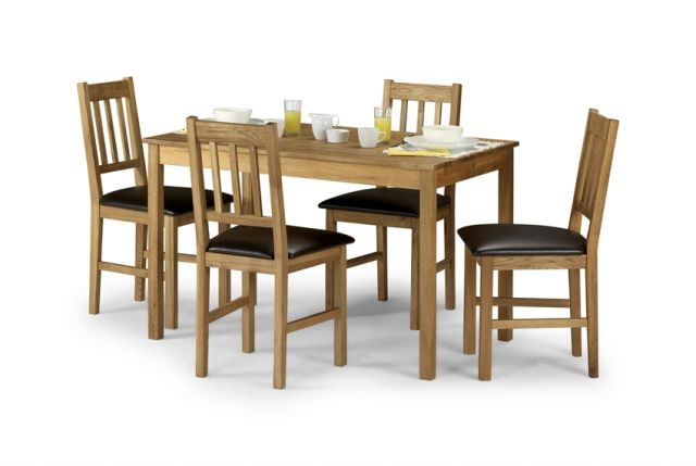 Coxmoor Dining Rectangular Table & 4 Chairs Solid American White Oak`