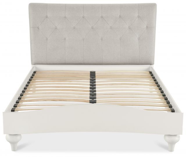 Chateau Two Tone - 150cm Upholstered Bed - Diamond Stitch  Soft Grey Finish