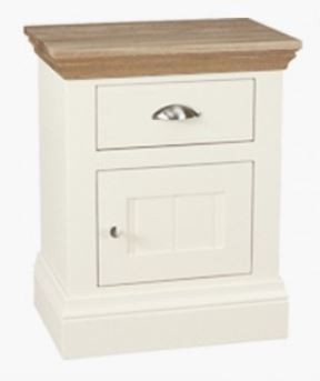 Coelo Oak Top Bedroom Small 1 Door/Drawer Bedside (R/H Hinged)