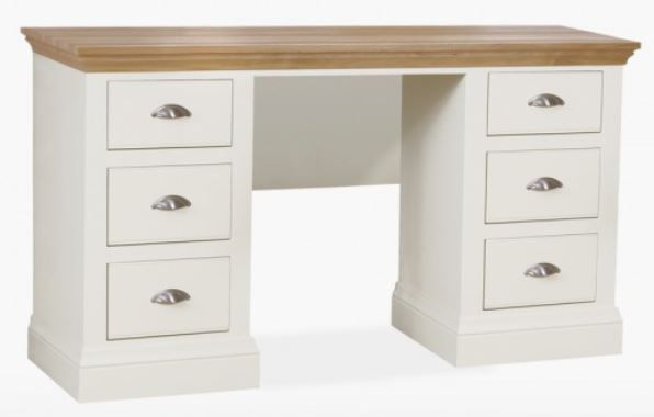 Coelo Oak Top Bedroom Double Pedestal Dressing Table