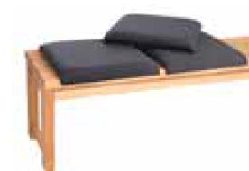 Loft Black Fabric Seat Pads (3 in Pack) for use with Bench