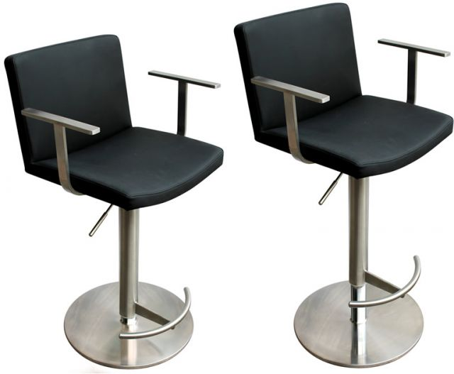 Metropolitan Bar Stool Zurich Black Faux Leather Seat Brushed Steel Frame