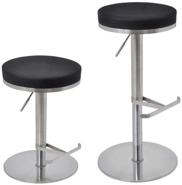 Metropolitan Bar Stool Biarritz Black Faux Leather Seat Brushed Steel