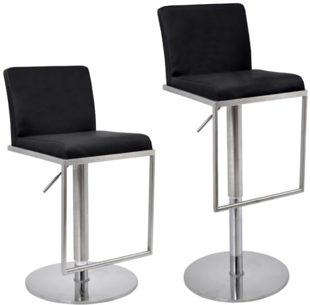 Metropolitan Bar Stool Cadiz Black Faux Leather Seat Brushed Steel Frame