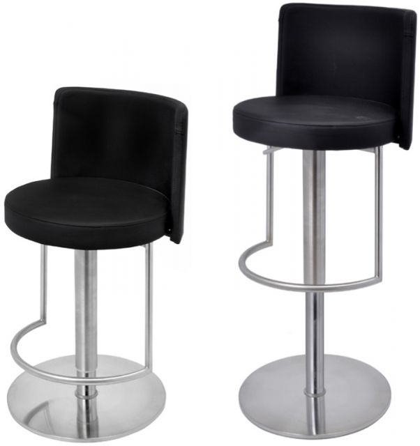 Metropolitan Bar Stool Monza Grey Faux Leather Seat Brushed Steel Frame