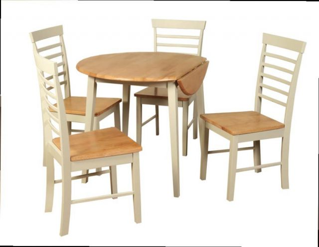 Wansford Dining Round Drop Leaf Dinning Set Stone Painted and Oak Finish