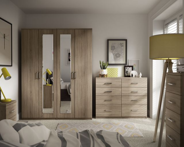 Malta Bedroom 4 Drawer Twin Chest With 1 Deep Drawer  Finish - Bardolino Oak