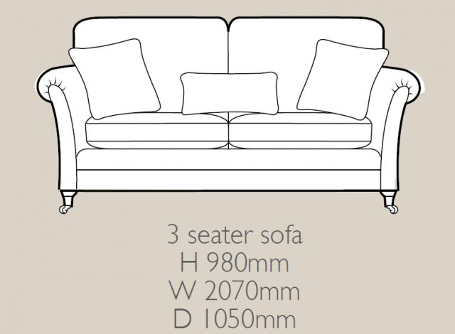 Glasgow - 3 Seater Sofa F Fabric