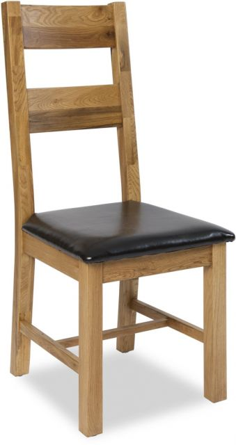 Country Oak Dining Chair PU Seat