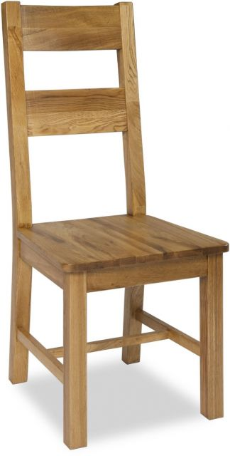 Country Oak Dining Chair With Wooden Seat