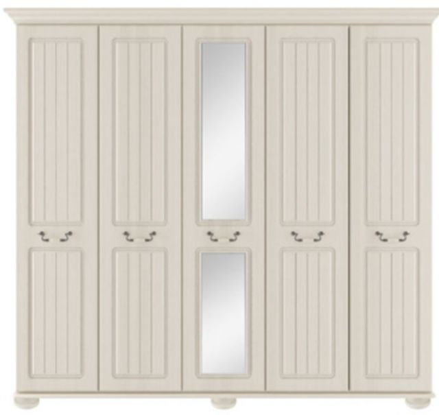 Signature Cream Tall 5 Door Robe With Centre Mirror Door