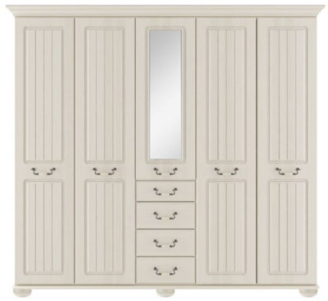 Signature Cream Tall 5 Dr Robe With Centre Mirror Door & Drawers