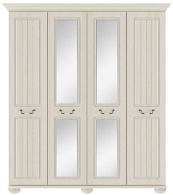 Signature Cream Tall 4 Door Centre Mirror Robe