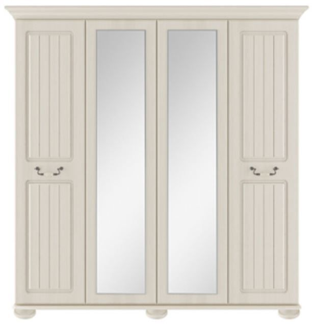 Signature Cream 4 Door Centre Mirror Robe