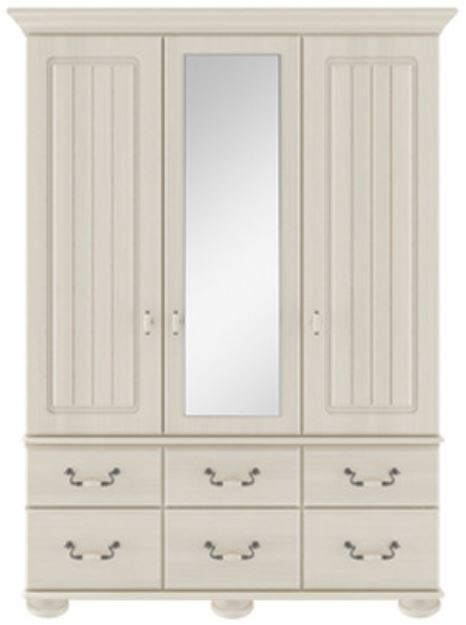 Signature Cream 3 Door/6 Drawer Centre Mirror Combi