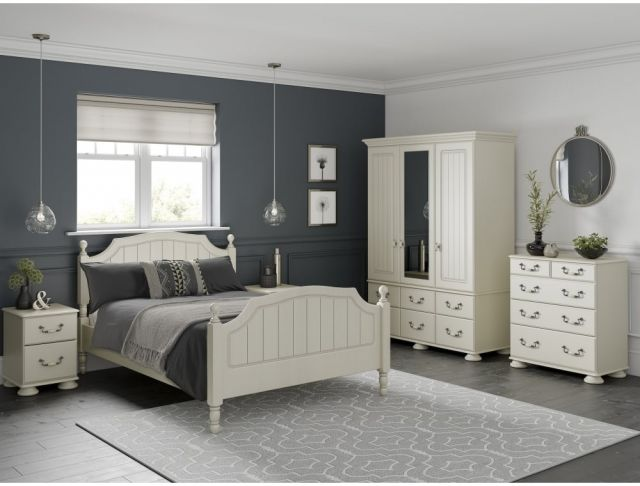 Signature Cream Single Bevelled Mirror with Drawers