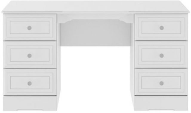 Nicole White Double Pedestal Dressing Table