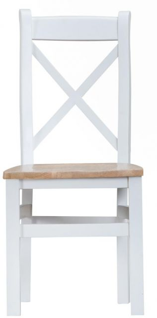 Padstow White Cross Back Chair Wooden Dining Chairs