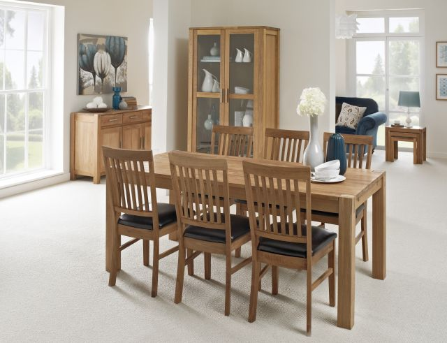 Roya Oak Dining - 180cm Table & 6x Slat Back Chairs Bi-Cast Seat