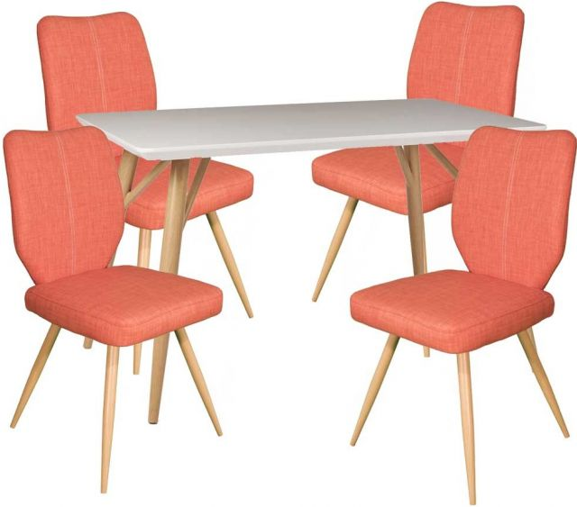 Dansk Rectangular Dining Table & 4 Bella Orange Dining Chairs