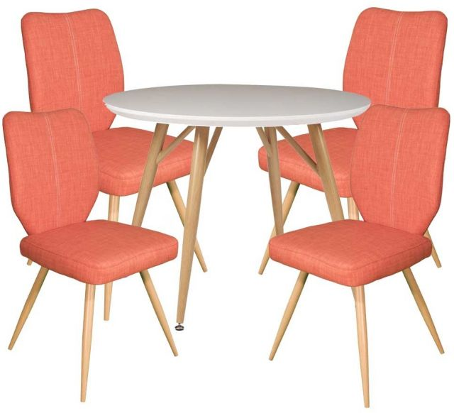 Dansk - Round Dining Table & 4 Bella Orange Dining Chairs