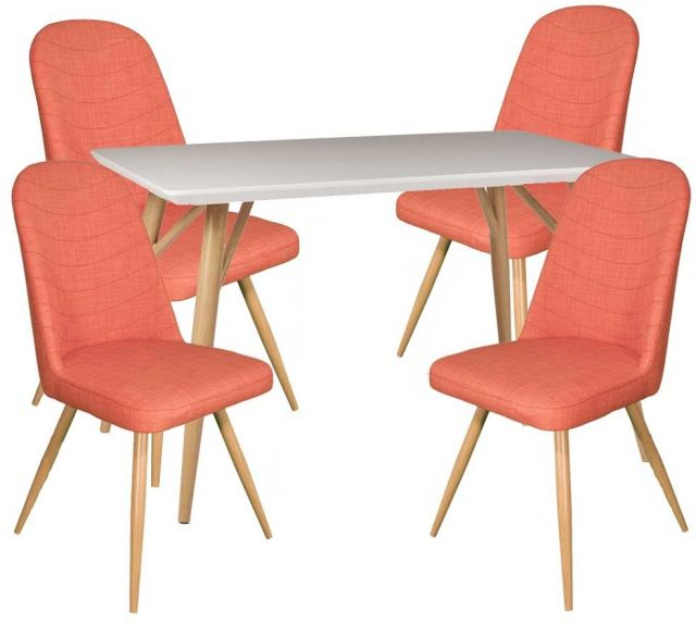 Dansk - Rectangular Dining Table & 4 Cameo Orange Dining Chairs