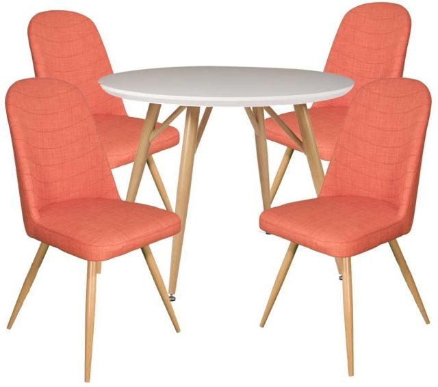 Dansk - Round Dining Table & 4 Cameo Orange Dining Chairs