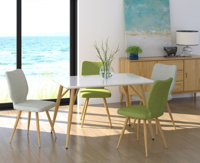 Dansk - Rectangular Dining Table & 4 Bella Green Dining Chairs