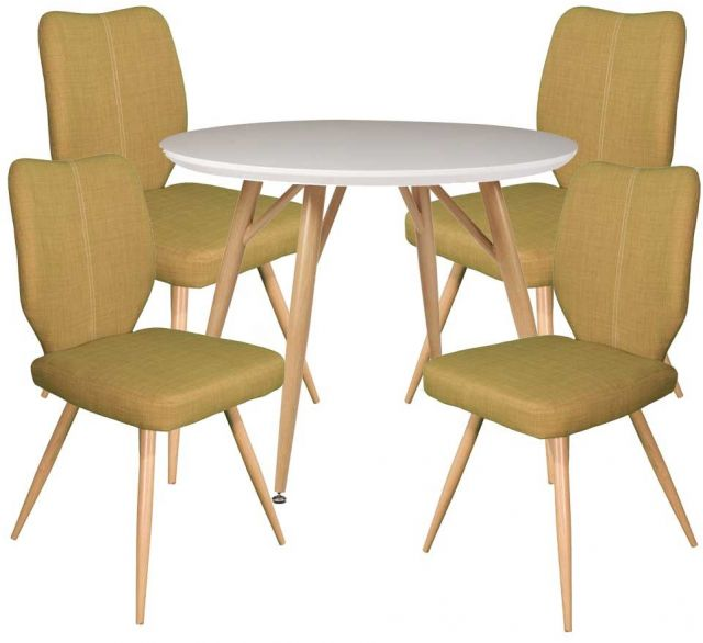 Dansk - Round Dining Table & 4 Bella Green Dining Chairs