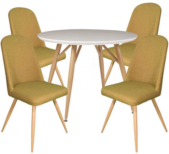 Dansk - Round Dining Table & 4 Cameo Green Dining Chairs