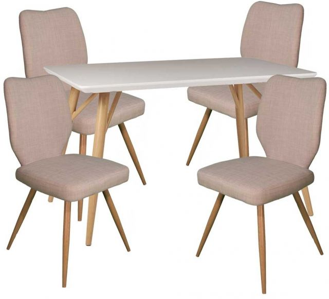 Dansk - Rectangular Dining Table & 4 Bella Ivory Dining Chairs