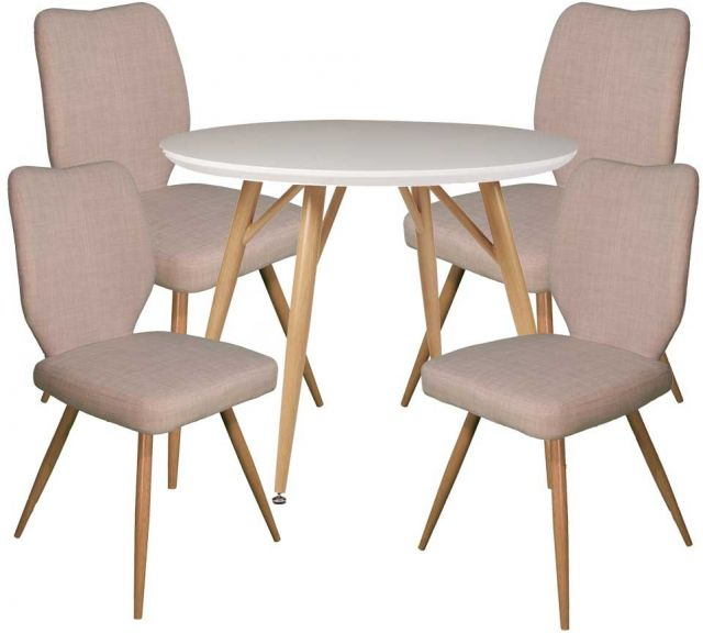 Dansk - Round Dining Table & 4 Bella Ivory Dining Chairs