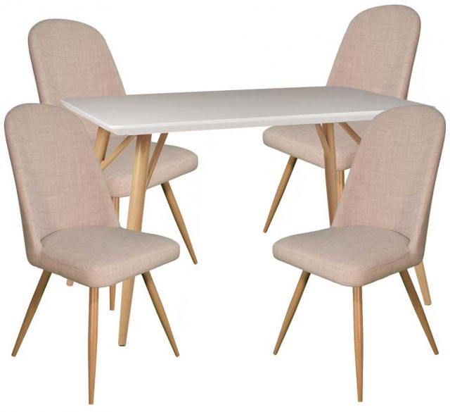 Dansk - Rectangular Dining Table & 4 Cameo Ivory Dining Chairs