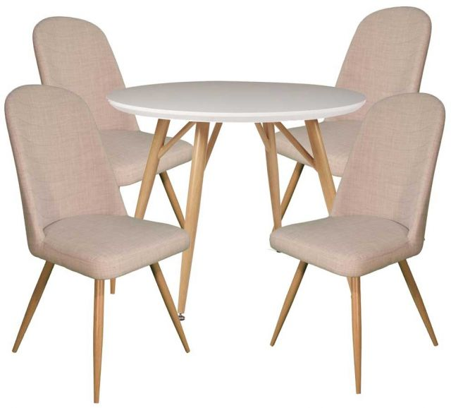 Dansk - Round Dining Table & 4 Cameo Ivory Dining Chairs