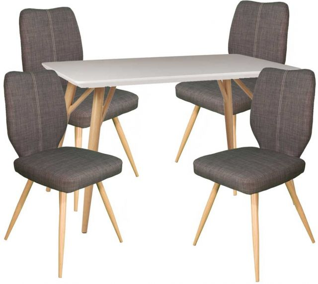 Dansk - Rectangular Dining Table & 4 Bella Slate Dining Chairs