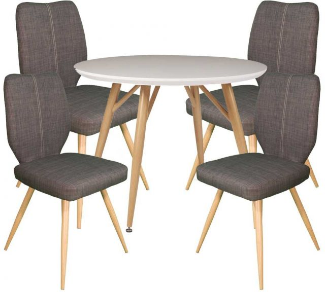 Dansk - Round Dining Table & 4 Bella Slate Dining Chairs