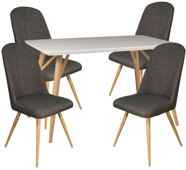 Dansk - Rectangular Dining Table & 4 Cameo Slate Dining Chairs